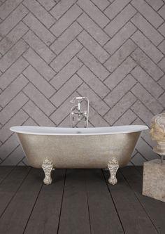 Shcooner bath from Hurlingham in Aberstig flaked leaf gilding Main Colors, Accent Colors, Blush Bathroom, Cast Iron Bath, Claw Foot Bath, Copper Bath, Black Taps, Roll Top Bath, Clawfoot Bathtub