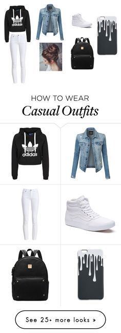 """""""Casual city look"""" by madisongramlich on Polyvore featuring LE3NO, Barbour and Vans"""