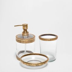 GOLDEN CRYSTAL AND METAL BATHROOM SET