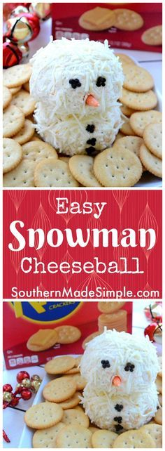 Looking for something simple and cute to take to a holiday party? This Snowman Cheese Ball paired with Ritz Crackers is a perfect choice! #HolidayRITZ #ad