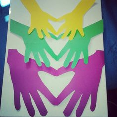 Hand heart project by the kids for grandads get well soon canvas