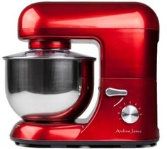 Andrew James 1500 Watt Electric Food Stand Mixer In Stunning Red With Splash Guard and 5.2 Litre Bowl + Spatula + 128 Page Food Mixer Cookbook - Cheap Food Mixers UK