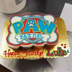 A paw patrol pull apart cupcake cake...how perfect! lol