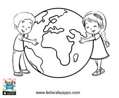 Happy children's day coloring pages - free printable ⋆ BelarabyApps Earth Day Coloring Pages, Fathers Day Coloring Page, Animal Coloring Pages, Coloring Pages For Kids, Kindergarten Coloring Pages, Kindergarten Crafts, Preschool Art, Save Earth Drawing, Drawing For Kids