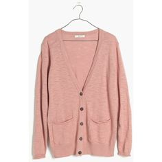 MADEWELL Graduate Cardigan Sweater ($60) ❤ liked on Polyvore featuring tops, cardigans, rosewood pink, red cardigan, button front tops, pink cardigan, madewell cardigan und lightweight cardigan