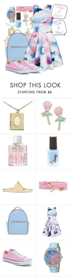 """Make it Pink! Make it Blue!"" by elliespringfa ❤ liked on Polyvore featuring Monsoon, Big Bud Press, Jimmy Choo, Henri Bendel, Yumi, Converse and GUESS"