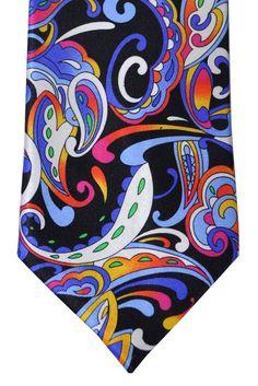 Vitaliano Tie Black White Multicolored Vitaliano Pancaldi