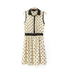 Dot hit color sleeveless dress DG61445