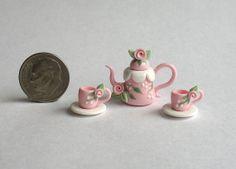 Miniature Shabby PInk Rose Buds & Scallops Tea by ArtisticSpirit