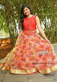 Floral Half Saree Designs, Sari Blouse Designs, Kurti Neck Designs, Lehenga Designs, Long Gown Dress, Anarkali Dress, Lehenga Crop Top, Crop Top Lehengas, Long Skirt And Top
