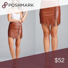 ♥️ JUST IN! Gorgeous Vegan Studded Mini Skirt! I love everything about this skirt! This vegan cognac mini skirt is a must have. It has a hidden zip closure and studded in all the right places. Skirts Mini
