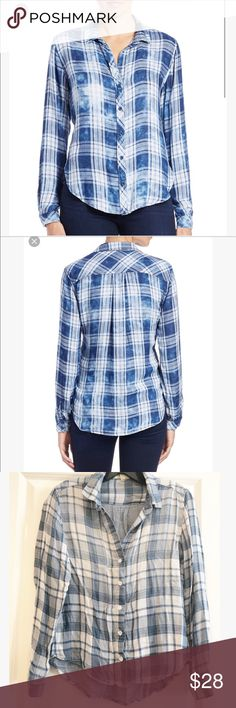 Anthro Cloth & Stone Blue Plaid Button-down Super soft Anthro Cloth & Stone Blue Plaid Button-down shirt. In excellent condition.  No flaws.  Size XS. Anthropologie Tops Button Down Shirts