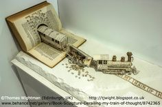 Student Project: Derailing my train of thought ©  Thomas Wightman (Artist, Student Designer. Edinburgh, UK) via behance. Artist blog:  http://tjwight.blogspot.co.uk/  Book sculpture.  Respect people, Respect copyright. Credit the artist. Link directly to the artist's website.   COPYRIGHT LAW REQUIREMENTS: http://pinterest.com/pin/86975836525792650/  HOW TO FIND the ORIGINAL WEB SITE of an image: http://pinterest.com/pin/86975836525507659/