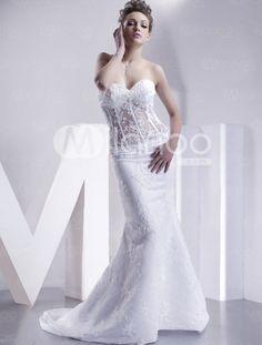 Sweetheart Strapless Mermaid Trumpet Satin Wedding Dress - Look style Sweetheart Wedding Dress, Bridal Wedding Dresses, White Wedding Dresses, Cheap Wedding Dress, Wedding Attire, Elegant Dresses, Pnina Tornai Dresses, Bridal Boudoir, White Bridal