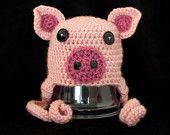 Pink Pig Crochet Baby Hat,