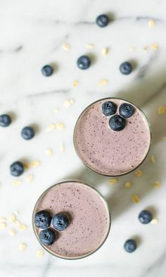 Blueberry Pie Smoothies. A healthy blueberry banana smoothie that tastes just like fresh blueberry pie!