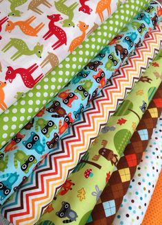Woodland Pals Quilt or Craft Fabric bundle by Ann Kelle for Robert Kaufman Fabrics- Fat Quarter bundle, 8 total