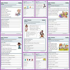 Ejercicios de inglés: Reading y writting para primero de primaria