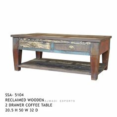 Attractive Design Natural Wooden Style Coffee Table With Drawer - Rajwadi Exports Handmade Rustic Art Desing RAJWADI EXPORTS (A Government of India Recognized Furniture Export House) Mobile: +91-977 2222 479 Email: info@rajwadiexports.com...
