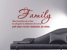 Family like branches on a tree we all go in different directions Yet our roots remain as one All our wall stickers/decals are available in a great range of sizes and colours - and can be personalised to be truly custom.