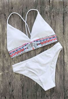 $21.99  Wanna a new one for the summer? I am glad to share my faves with you. Boho Bikini Floral Print Bohemian White / Black Style Swimsuit