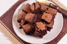 Nigella Chocolate Brownies on a plate from above