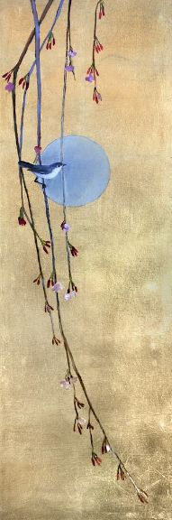 """""""April Moon"""" by Ellen Welch Granter.  36"""" x 12"""" Oil and Gold Leaf.  Available at Maine Art Paintings & Sculpture."""