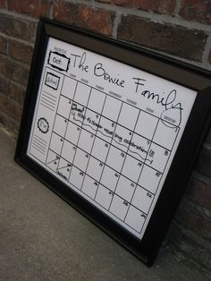 Diy dry erase calendar pinterest glass picture frames dry erase dry erase family calendar using a frame white posterboard and vinyl on the inside of the glass solutioingenieria Image collections