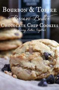 Bourbon & Toffee Brown Butter Chocolate Chip Cookies   www.sugarandsoul.co