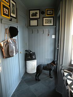 mud room - for the garage entry hallway. Like the beadboard, hooks, and photos . mud room – for the garage entry hallway. Like the beadboard, hooks, and photos up high. Garage Entry, Entry Hallway, White Hallway, Hallway Ideas, Modern Hallway, Tile Entryway, Vestibule, Sas Entree, Slate Flooring
