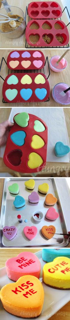 Conversation Heart Cheesecake. Super cute idea! Would write message on top, also.