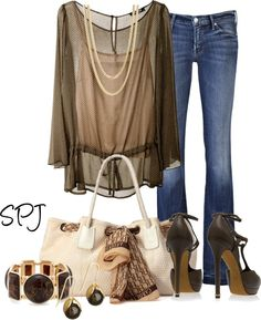 """Browns & Gold"" by s-p-j on Polyvore"