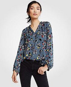 #Spring #AdoreWe #Ann Taylor - #Ann Taylor Ann Taylor Winter Floral Full Sleeve Blouse - AdoreWe.com