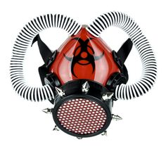 Red Cyber Respirator Gas Mask with White Coil on Black Tubes