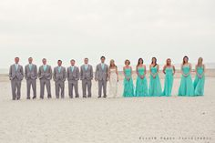 Love the teal and grey! but have the groom in something that makes him stand apart from the groomsmen.