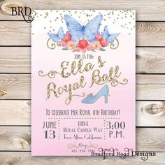 Welcome to Bradford Road Designs!  Youre invited to a Royal Ball!  This is dreamy Pink&Blue Cinderella inspired invitation with watercolor, gold glitter, butterflies, and of course, a glass slipper! This would be perfect for your little Princesses Birthday!! This can be customized for any event! Want a picture added? Want it double-sided? Convo me!  This listing includes an emailed 5x7 CUSTOM INVITATION DESIGN ONLY. No printed materials will be shipped. You will receive a high quality PDF…