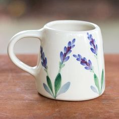 Lavender Hand Painted Mug – Stash Tea Artisan crafted and hand painted in the shadow of the Blue Ridge Mountains by Emerson Creek Pottery in Bedford, Virginia, the Lavender Mug is perfect for your country or Painted Coffee Mugs, Hand Painted Mugs, Hand Painted Pottery, Painted Cups, Pottery Painting, Hand Painted Ceramics, Ceramic Painting, Ceramic Mugs, Ceramic Art