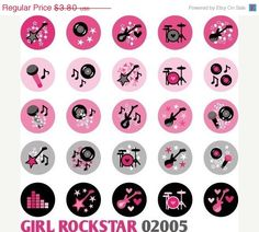 Items similar to Chic Purple Rockstar 02051 - Kawaii Digital Collage Sheet circles - Bottle cap images for badge button, sticker, glass magnet on Etsy Music Theme Birthday, Rockstar Birthday, 9th Birthday, Barbie Theme, Rock Star Party, Rocker Chick, Bottle Cap Images, Off Sale, Collage Sheet