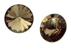 Jubiexpress_us-RIVOLI 8 GENUINE SWAROVSKI CRYSTAL STUD EARRINGS SILVER + GOLD PLATE 24 K ~color-Greige-$6.50