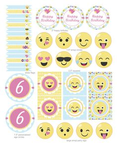 Fête danniversaire Emoji Jeune fille Emoji par KidsPartyDreams