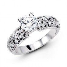 Simon G 18K White Gold Filigree Engagement Ring With 0.52 Carat Diamonds. http://www.bengarelick.com/designer/simon-g/simon-g-18k-white-gold-filigree-engagement-ring-with-0-52-carat-diamonds