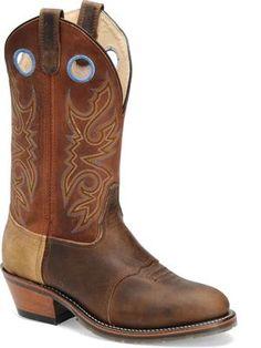 "Men's Double H Boot 12""Work Western - Tan/Copper Crazyhorse"