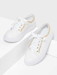 ae2bb61586e Chain Detail Lace Up Sneakers Sneakers For Sale