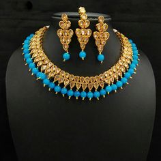 Indian Bollywood Designer Women Jewelry Gold Plated Pearl Stone Necklace Set   #natural_gems15 #Wedding