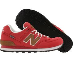 New Balance ML574BPR shoes in red, brown, and white