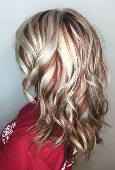 TerrificTresses.com loves to display radiant hair color as seen in this pin.  Creamy blondes with hints of auburn perfectly work a pretty mix of highlights and lowlights.