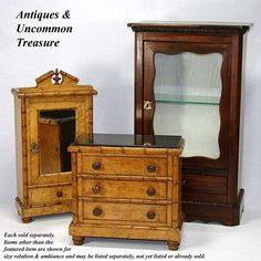 "Antique French Rosewood Miniature Armoire, 20"" Table Cabinet or Doll Furniture (shown with Victorian bamboo furnishing)  Photo credit: Antiques & Uncommon Treasure"