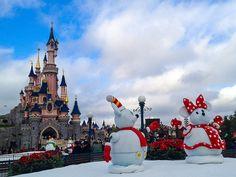 Mickey and Minnie Snowmen Decorate Disneyland Paris