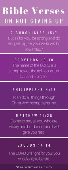 Bible Verses for not giving up. When the pain has been going on for so long and you feel like giving up, sit at the feet of Jesus and read these scriptures verses on not giving up. Be encouraged! Scripture Verses, Bible Scriptures, Bible Verses For Encouragement, Verses On Prayer, Bible Scripture Tattoos, Worry Bible Verses, Christian Life, Christian Quotes, Christian Women