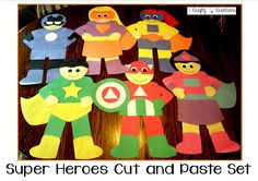 Super Heroes Cut and Paste Set that includes patterns and directions to make all 6 super heroes! Fun for a super hero themed classroom décor, as a project to do with students, or even a super hero birthday party.